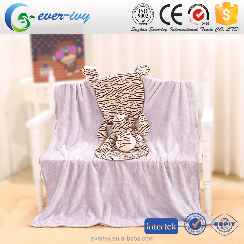 2 In 1 animal shaped baby plush blanket for kids