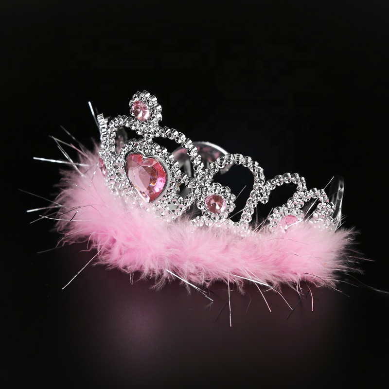 Wholesale Cheap Birthday Girl Princess Feather Headwear and Plastic doll Tiara <strong>Crown</strong>