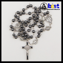 catholic 6mm Hematite Round beads rosaries with 6pcs St.Benedict beads for Men
