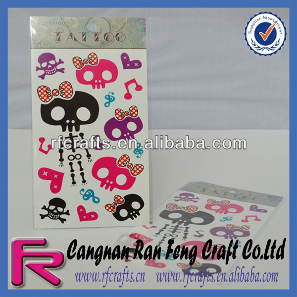 Cute colorful skull Tattoo Stickers laser tattoo removal temporary tattoo sticker