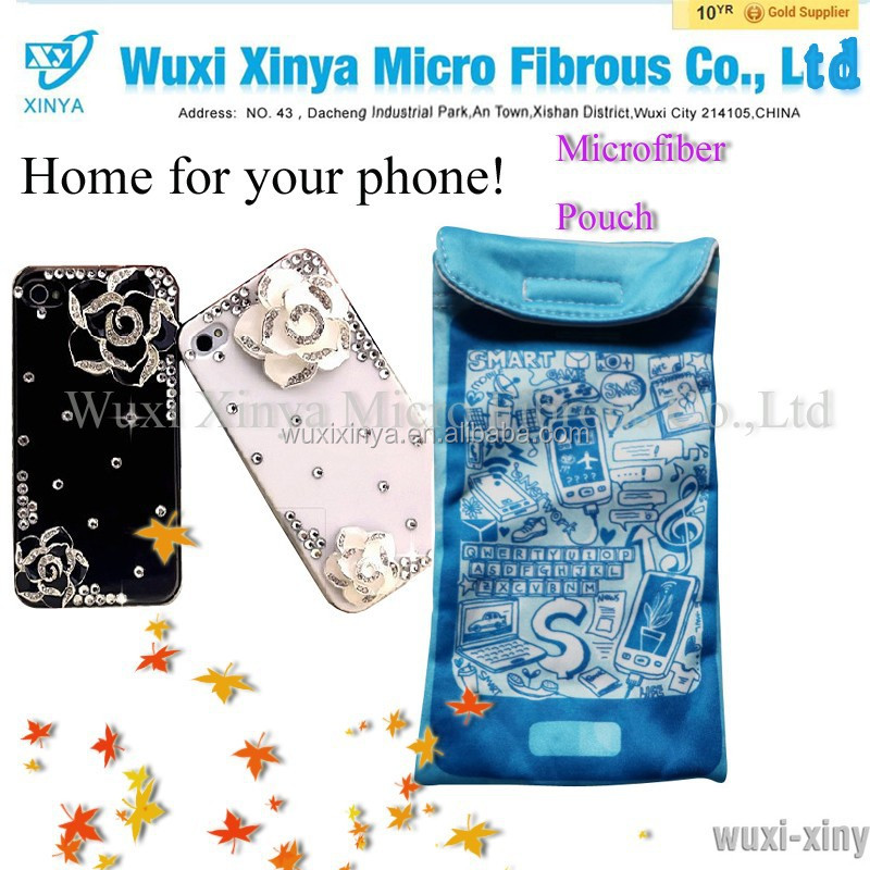 Customized printed promotional eyeglasses smart-phone cleaning drawstring microfiber pouch