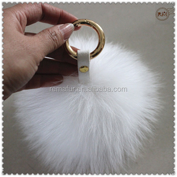 Fluffy Fox Fur Ball Keychains with Gold Metal