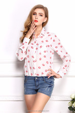 SWEET style 2016 spring New fashion Long-sleeved Casual Blouse lips puppy Anchors Print Color Chiffon Shirt blouse Wholesale