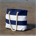 2018 New Spring And Summer Beach Bag Fashion Blue Striped Canvas Tote Bag Shoulder Bag Handbag