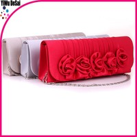New lady handbag graceful evening bag 2015 new style rose flower design PU lady party evening bag