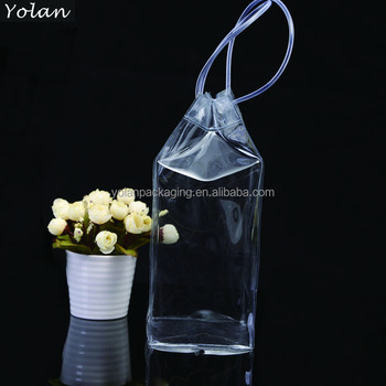 promotion transparent PVC liquor bag with costom print