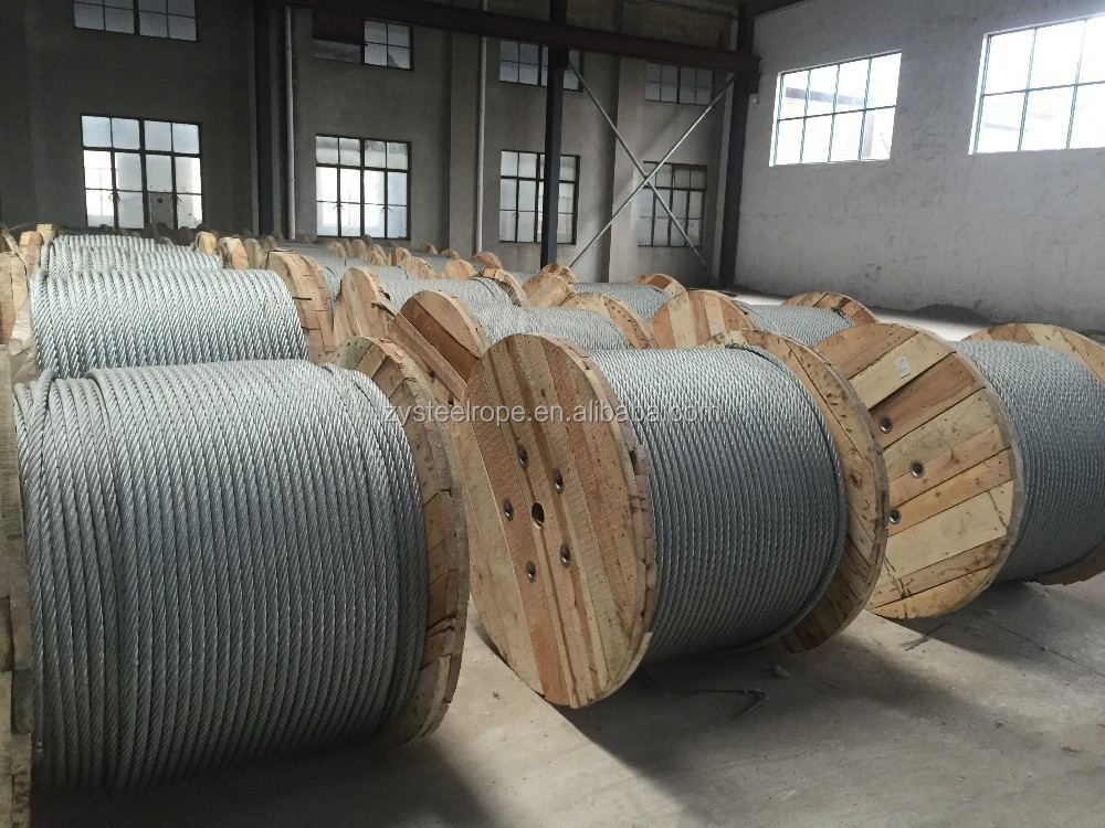 25mm 6 wire 6x24 galvanized steel wire rope in nantong