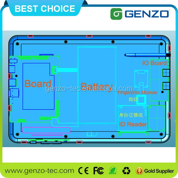 Genzo Professional Window OS Industrial Waterproof Tablet PC With 10.1 Inches Large Screen