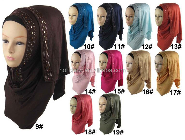 New Style Rhinestone Beaded Fashion Jersey Instant Hijab