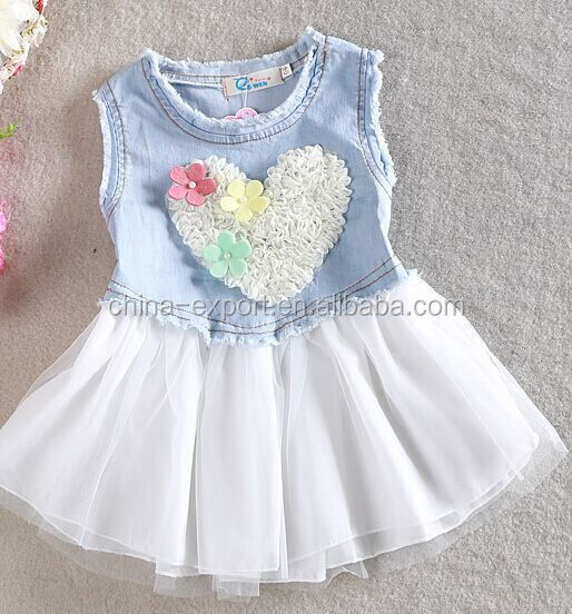 815b 2015 wholesale summer fashion hot sale New cotton european heart floral sleeveless princess girls jean tutu dress 2 color