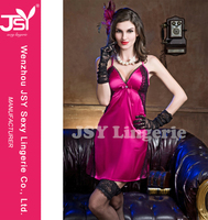 CHEAP PURPLE RED& BLUE DEEP V SEXY SILK SLIP SATIN BIG BREAST BABYDOLL 2015 LINGERIE JSY# 9670