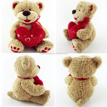 promotional soft kids toys happy plush stuffed teddy bear with heart