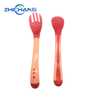Quality First Baby Silicone Color Changing Spoon and Fork