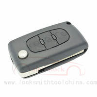 High Quality Auto 3 Button Flip Remote Replacement Car Key Casing for Peugeot 407 [AML030269]