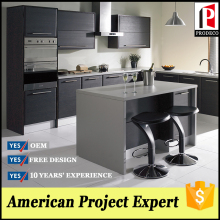 Prefabricated homes black wood veneer kitchen cabinet
