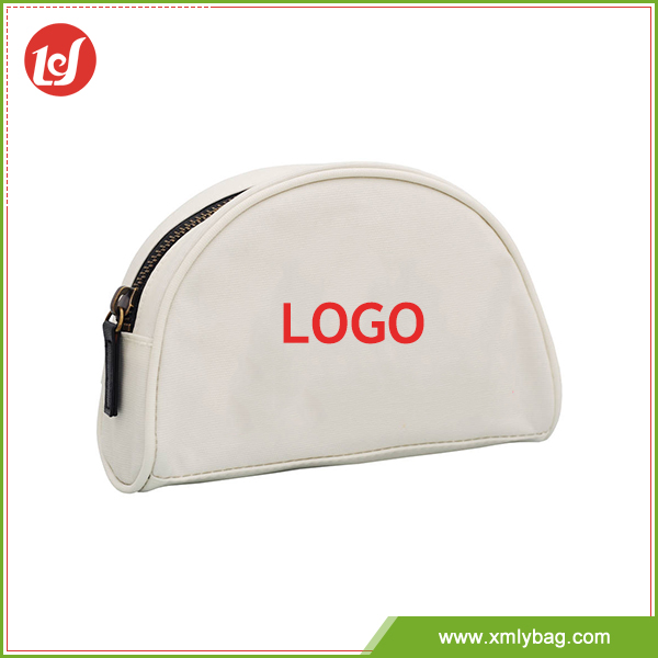 Customize PU semi-circle round cosmetic bag for travel