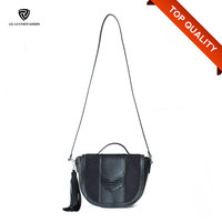 Small Women Bag China Black Shoulder Handbag with Tassel Pendant