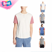 Contrast Color T Shirt Mens Henley T-Shirts Button Baseball Jersey Home Run Tee Custom Printing Wholesale