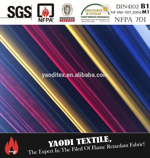 Inherently fire retardant velour fabric for stage fabric from Trevira CS