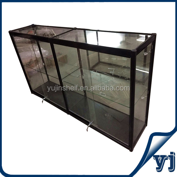 Auminium combined glass display counter design, display cabinet with glass doors