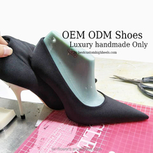 Satin cloth handmade pumps customized color and designs with customer's label high heels