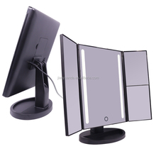 Popular Trifold 10X magnifying led cosmetic mirror portable makeup mirror with led lights