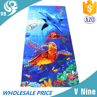 Best Service promotional high quality 100% cotton velour reactive custom printed beach towel