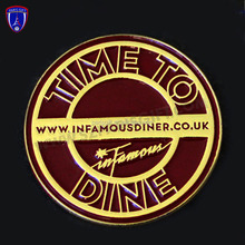 Time to dine round metal enamel pin badge with butterfly clip