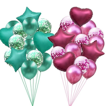 14pcs <strong>12</strong>/18inch Metallic Confetti Happy Birthday Party Wedding Helium heart foil Balloon Decorations Supplies