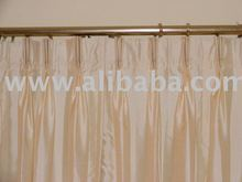 Pleated Faux Silk Drapes, Custom made with Lining.