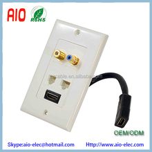 HDMI + RJ11 + RJ45 + Coaxial + RCA Wallplate with Back Built-in Flexible Cable For Easy Installation