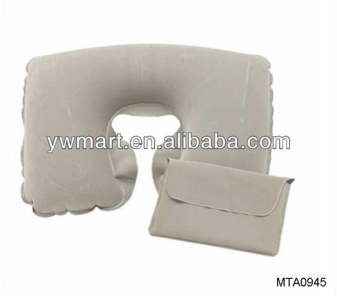 PVC flocking inflatable pillow,inlatable travel pillow,inflatable travel pillow bag