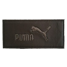 Quality leather patch for denim metal logo