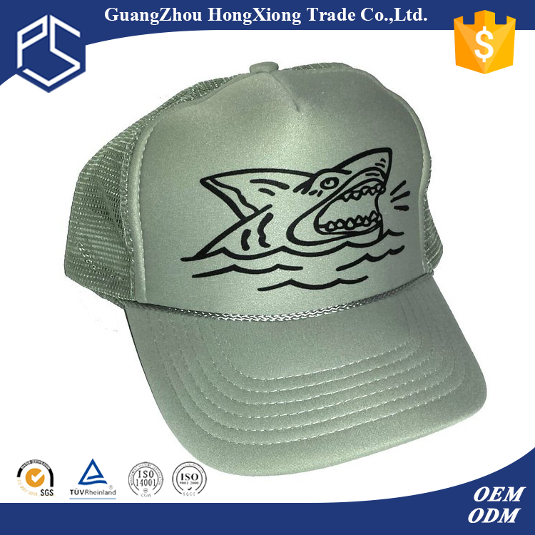 Full mesh back hats fitted bulk foam shark animal hats