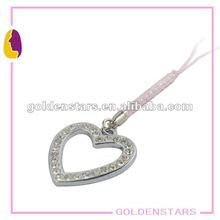 Charming heart crystal mobile phone chains