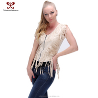 2015 Ladies Vest Dress latest designs jacket Fashionh Causal Fringe Sleeve Zipper Clothes for women
