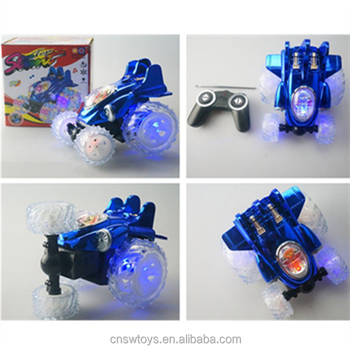 YK0809203 Hot popular plastic toy 4 channel rc car tumbling tip lorry with transparent light music wheel w/o batteries