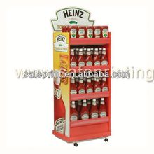 Candy pop paper cardboard advertising display stand with angled sign holder
