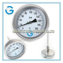 High quality stainless steel industrial dial face bimetal thermometer with bayonet bezel