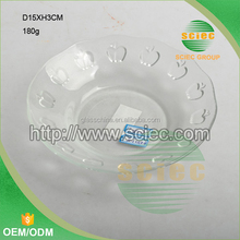 cute apple shape embossed pattern clear round glass plate