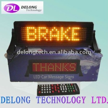 CE RoHS 12V P6mm 7X35pixel yellow brake moving mobile electronic car brake led sign,multi-language