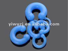 hot hot wholesale Gauges silicone blue horseshoe Piercing circular barbell