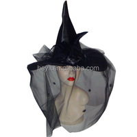 Ladies Deluxe Halloween black crooked satin fabric witch hat with rose and black feather