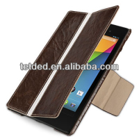 TETDED Premium Leather Case for Google Nexus 7 FHD 2013 -- Bellac (Hercules: Espresso Brown / White)