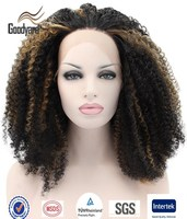 Fashion cheap heat resistant synthetic fiber afro kinky curly lace front wigs