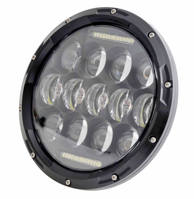top quality headlight 7 inch 75w hi/ lo led headlamp for jeep with daytime running light