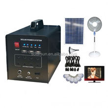 60w portable solar power energy panel home lighting system for home with led light for cell phone charging