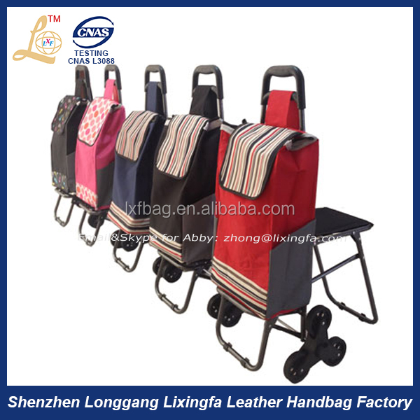 Top selling products 2015 portable folding canvas trolley shopping bag with chair