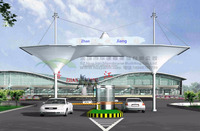 ETFE/PTFE/PVDF Ecological petrol stations architecture tensile membrane structure