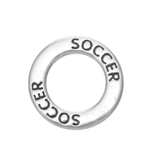 Jewelry Accessories DIY Custom New Design Soccer Letter Message Fat Ring Charm Circle Ring Pendant For Bracelet Necklace Making